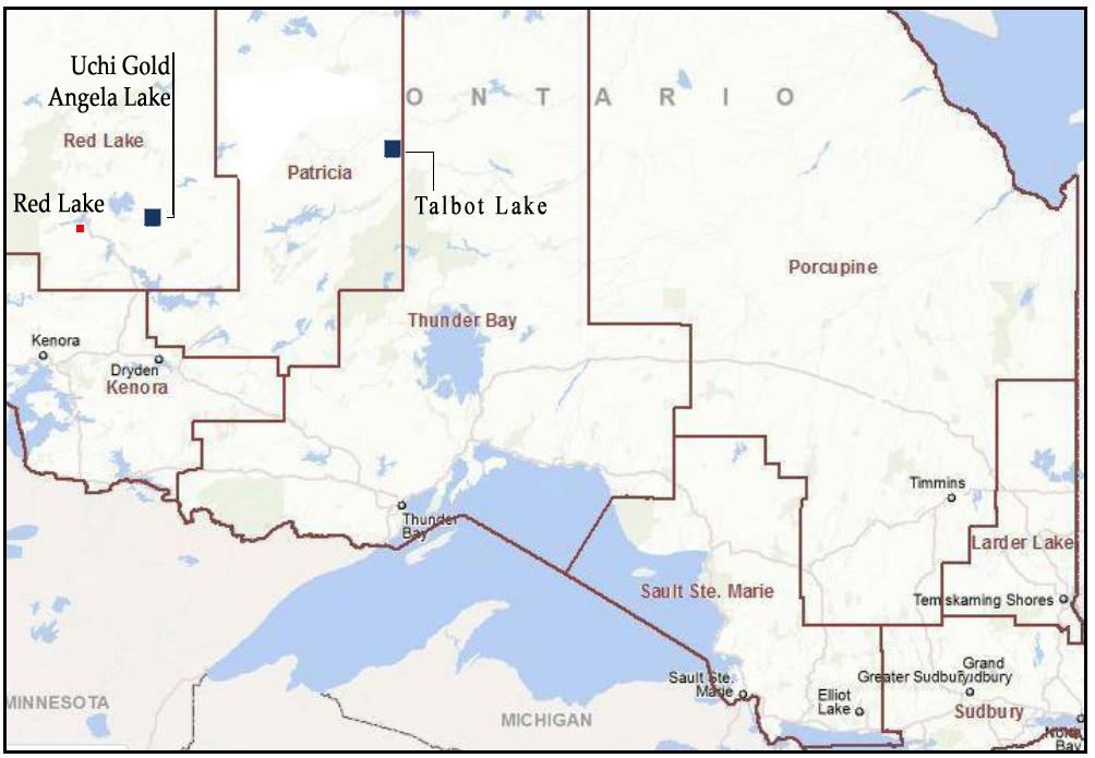 Carte du nord-ouest de l'Ontario