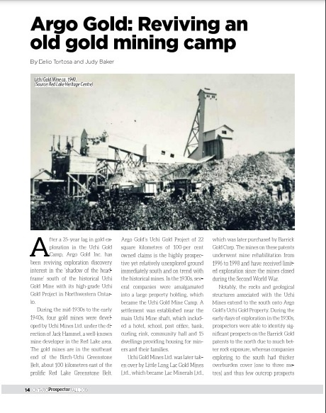 Ontario Prospector -Argo Gold Article (6 pages) Fall-2019
