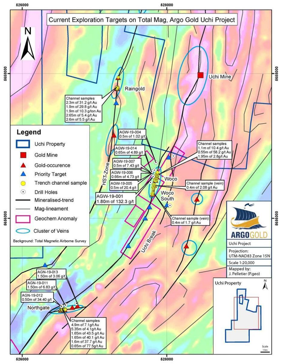 Current Exploration Targets on Total Mag, Argo Gold Uchi Project