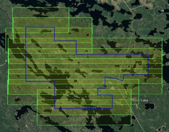 Figure 1-Photographie aérienne et relevé LiDAR du projet aurifère au lac Uchi
